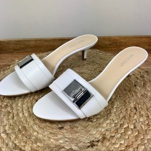 NINE WEST white leather sandals NEW IN BOX